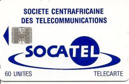 CARTE-PUCE-CENTRE AFRIQUE-60U-SC7-SOCATEL-BLEU-V° Sans N°-Puce Opérationnelle-TBE - Repubblica Centroafricana