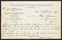 Courrier 1927 Vignes Américaines Hector Raboutet à Blaye Gironde (33) - France
