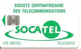 CARTE-PUCE-CENTRE AFRIQUE-120U-SC7-VERTE-V° Sans N°-Puce Fonctionnelle-BE-V° Avec Rayures - Repubblica Centroafricana