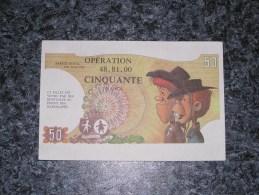 BILLY THE KID CALAMITY JANE Morris Lucky Luke  Billet Loterie Opération 48 81 00 Faux Billet 50 Francs Tombola 1982 - Livres, BD, Revues