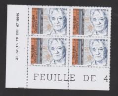 FRANCE / 2016 / Y&T N° 5034 ** : Georges CHARPAK (4 TP En Coin Daté 2015/12/21 TD 201) - Coins Datés