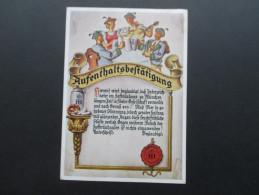 München Hofbräuhaus Aufenthaltsbestätigung. 1948 All. Besetz. Michel Nr. 103a EF. An Das Hotel Rotes Haus In Karlsruhe - Hotels & Gaststätten