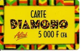 CARTE-PREPAYEE-SENEGAL-ALIZE-5000F CFA-DIAMONO-Epaisse-V°Gd N° Lasers-TBE