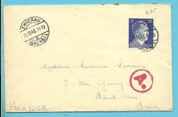 """Brief Met Stempel ZWICKAU Op 30/11/43 Met Stempel BETRIEBSLAGER / WEISENBORN -> """"France"""" (VK) - Briefe U. Dokumente"""