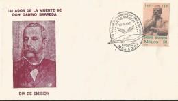 B)1981 MEXICO, MEXICAN REVOLUTION,  HISTORY,  STATUE, 100 YEARS OF THE DEATH OF DON GABINO BARRERA, UNUSED, FDC - Mexico