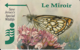 """JERSEY ISL. - Butterfly, Jersey""""s Wildlife/Le Miroir, CN : 24JERB(normal 0), Tirage %20000, Used"""