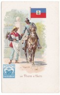 Postal Mail Carrier In Haiti, Stamp Image, Mailman Delivers Mail From Horseback, C1900s Vintage Postcard - Postal Services