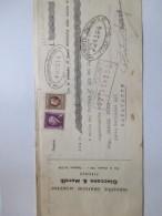 1943 Ricevuta Bancaria Industrie Grafiche GIACCONE & MORELLI Firenze Su Banca Sannitica Benevento Marche Da Bollo L.2+L. - Assegni & Assegni Di Viaggio