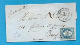 Somme - FLIXECOURT Pour PARIS. PC + CàD Type 15 - Marcophilie (Lettres)