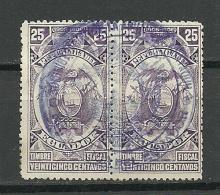 ECUADOR 1905/06 Old Revenue Tax Stamp In Pair O - Equateur