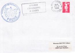 BATEAU TRANSPORT DE PERSONNEL FAUNE  FLAMME ENVELOPPE A CASES BREST 27/11/1996 - Poststempel (Briefe)