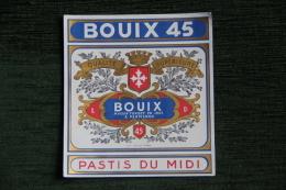 "ETIQUETTE ,  PASTIS DU MIDI -  ""BOUIX 45"", PERPIGNAN - Other"