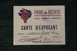 BEZIERS - Carte D'exposant à La Foire Viticole, Indutrielle Et Commerciale De BEZIERS - Visiting Cards