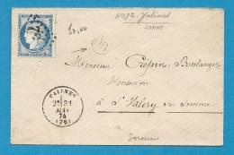 Somme - VALINES Pour St VALERY Sur SOMME  - GC + CàD Type 16 - Marcophilie (Lettres)