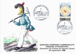 Strasbourg - Sapeurs Pompiers Strasbourg - Centre Ouest - Carte Ouverture Du Centre 1988 - Dessin Leo Schnug - Strasbourg