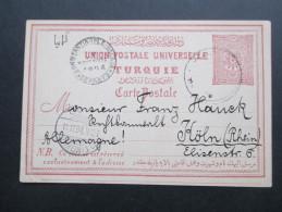 Türkei 1894 Ganzsache P16 Stempel Constantople Galata Departs. Karte Nach Köln. Interessante Karte - 1837-1914 Smyrna