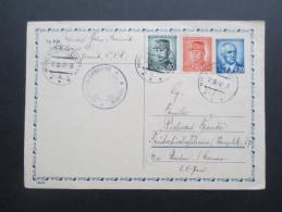 Ganzsache / Zensurkarte 1948 Censura - Censure Jesenik. Ganzsache Mit Zusatzfrankatur - Briefe U. Dokumente