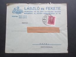Ungarn 1937 Beleg Nach Gera. Laszlo Es Fekete. Firmenwappen Mit Einhorn Und Krone - Hungría