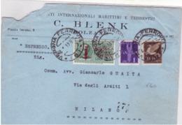 Lettera Espresso  Triplo Porto Da  Verona A Milano  6/8/1944   B114 - Marcophilia
