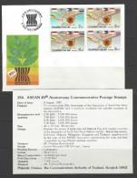 THAILAND Sonder-FDC Mit Beschreibungskarte Nr. 354 Mi-Nr. 1205 - 1208 - 20 Jahre Verband Südostasisatischer Nationen - Thailand