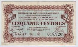 CHAMBRE DE COMMERCE AUXERRE - CINQUANTE CENTIMES 1920 - SUP - Chambre De Commerce