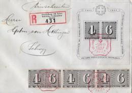 100 JAHRE SCHW.POSTMARKEN → SBK W14 Nach Schwyz 08.03.1943 - Blocks & Kleinbögen