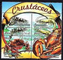 RB)2009,PERU, PERUVIAN CRUSTACEANS, CRABS, LANGOSTA, LANGOSTINO, CAMARON,S/S,MNH - Peru