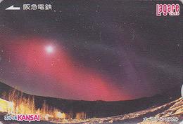 Carte Prépayée Japon - Thème Polaire - ALASKA / Aurore Boréale - Sunset Aurora Rel Card From Japan / Space 6 - Astronomy