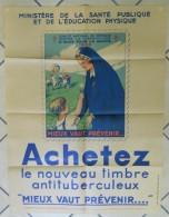 1935 Affiche BCG Illustrée Henry Cheffer Infirmière & Jeu D'enfants Ballon Tuberculose L20x60cm Imp Des Beaux Arts Paris - Affiches