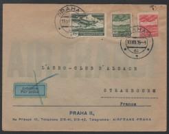 LIGNE PRAGUE - STRASBOURG - AIR FRANCE  / 1935 LETTRE AVION POUR LA FRANCE  (ref 6634) - Czechoslovakia