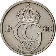 Suède, Carl XVI Gustaf, 25 Öre, 1980, SUP, Copper-nickel, KM:851 - Suède