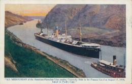 "PA PANAMA DIVERS / ""S.S Missourian Of The American-Hawaïïan Line Passing  In The Panama Canal"" / CARTE COULEUR - Panama"