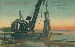 PA CRISTOBAL / Steam Hammer For Driving Caisons, Cristobal Docks, Panama Canal / CARTE COULEUR - Panama