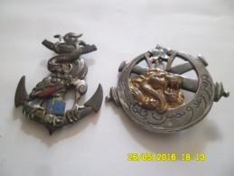 2 Insignes  à Identifier 16 E  ,dragon Sur Une Encre  + 2 Cannons Avec Un Lion  écriture Arabe ?? Les 2 Draco - Hueste