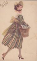 ILLUSTRATEUR - Femme - Panier Rempli D´Oeufs - Chapeau - Illustrateurs & Photographes