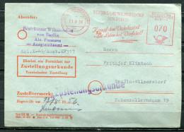 "Germany Westberlin 1956 Zustellurkunden Cover Mit Roten Freistempler""Berlin Wilmersdorf-Kampf Dem Verkehrstod-..""1 Beleg - Accidents & Sécurité Routière"