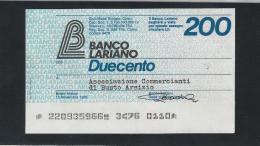 MINIASSEGNI ) BANCO LARIANO 200 Lire - [10] Assegni E Miniassegni