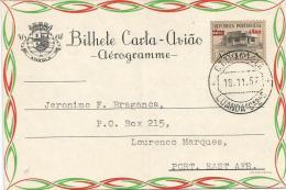 Angola 1957 Luanda $1 On $2.50 Overprint Aerogramme - Angola