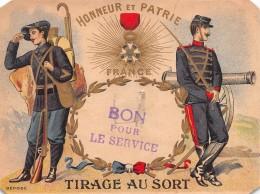 """04295 """" BON PUR LE SERVICE - HONNEUR ET PATRIE - FRANCE - TIRAGE AU SORT - SERVICE MILITAIRE"""" ANIMATO, MILITARI - Documenti"""
