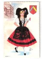 ALSACE , Costume Régional Par ELOI ; Carte Avec Tissu Brodé & Dentelle ; Cigogne ;Blason ; Ed Arte Hispanico, TB - Costumes