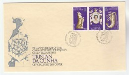1978 TRISTAN DA CUNHA FDC Stamps CRAYFISH  HORSE, ROYAL CORONATION ANNIV Cover Royalty Fish - Fishes