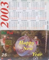 Telefonkarte Bulgarien - BulFon - Weihnachten - Kugeln - Happy New Year   - 25 Units  -  Kalender 2003 - Bulgarien