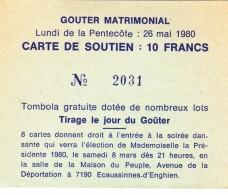 "Ecaussinnes ""Goûter Matrimonial""  Du 26 Mai 1980  Carte De Soutien - Collections"