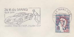 24h Du Mans - 1967 - Theme Automobile - Postmark Collection (Covers)
