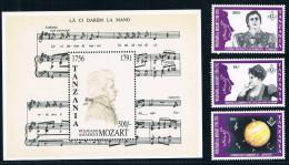 Tanzania 1992 MU1189 Musician Mozart Died 200 Years Masonic Theatre 3 + M Full - Tansania (1964-...)