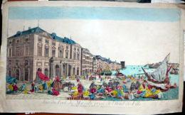 13 MARSEILLE VUE D'OPTIQUE  LE PORT DE MARSEILLE VU DE L'HOTEL DE VILLE  COLORIS D'EPOQUE  VERS 1780 - Estampes & Gravures
