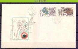 Mdl058b FAUNA VOGELS KAT UIL LYNX CAT BIRDS KORHOEN BUTTERFLIES OWL OISEAUX AVES CESKOSLOVENSKO 1983 FDC - Birds