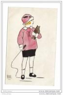 Carte Aquarelle Fillette Et Chaton Mona 1918 - Enfants