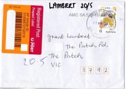 Australia 2016 Fair Dinkum Alphabet $1 S Self-adhesive On Domestic Registered Envelope - Lettres & Documents