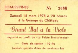 Ecaussinnes   Grand Bal à La Viole  à La Grange Du Château  Samedi 18 Mars 1978 (carte De Soutien) - Collections